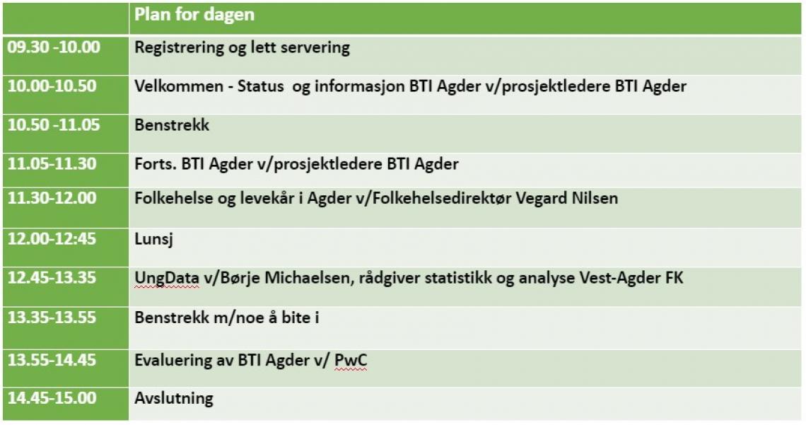 Program for BTI Agder nettverkssamling 2-19